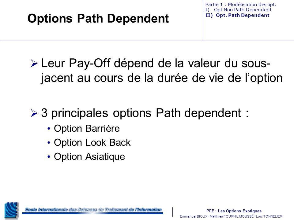 PFE : Les Options Exotiques m Emmanuel BIOUX - Matthieu FOURNIL MOUSSÉ - Loïc TONNELIER Options Path Dependent Leur Pay-Off dépend de la valeur du sou