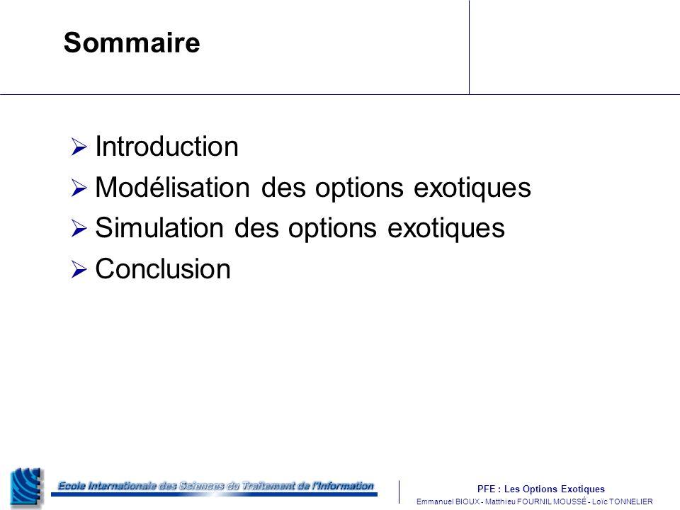 PFE : Les Options Exotiques m Emmanuel BIOUX - Matthieu FOURNIL MOUSSÉ - Loïc TONNELIER Sommaire Introduction Modélisation des options exotiques Simul
