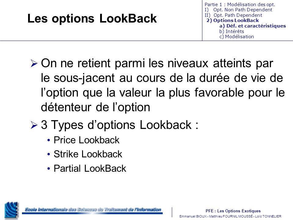 PFE : Les Options Exotiques m Emmanuel BIOUX - Matthieu FOURNIL MOUSSÉ - Loïc TONNELIER Les options LookBack On ne retient parmi les niveaux atteints par le sous-jacent au cours de la durée de vie de loption que la valeur la plus favorable pour le détenteur de loption 3 Types doptions Lookback : Price Lookback Strike Lookback Partial LookBack Partie 1 : Modélisation des opt.