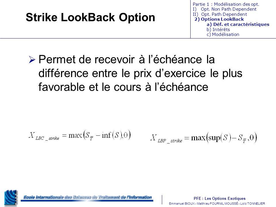 PFE : Les Options Exotiques m Emmanuel BIOUX - Matthieu FOURNIL MOUSSÉ - Loïc TONNELIER Strike LookBack Option Permet de recevoir à léchéance la différence entre le prix dexercice le plus favorable et le cours à léchéance Partie 1 : Modélisation des opt.
