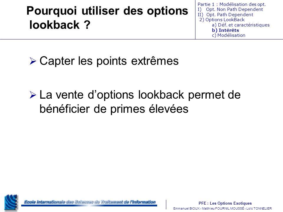 PFE : Les Options Exotiques m Emmanuel BIOUX - Matthieu FOURNIL MOUSSÉ - Loïc TONNELIER Pourquoi utiliser des options lookback ? Capter les points ext