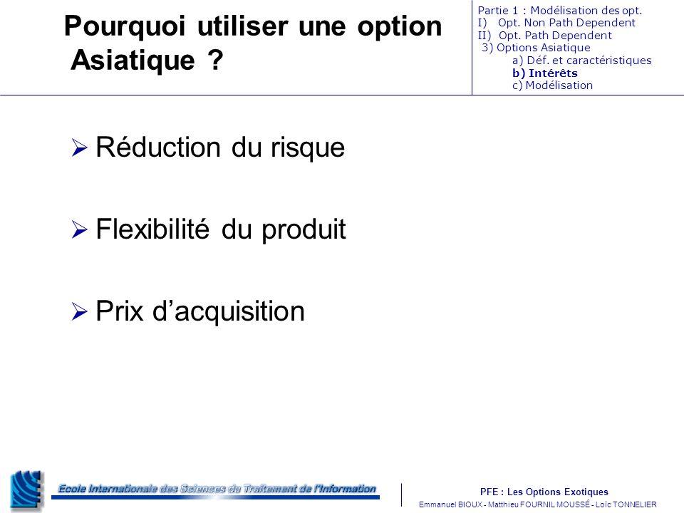PFE : Les Options Exotiques m Emmanuel BIOUX - Matthieu FOURNIL MOUSSÉ - Loïc TONNELIER Pourquoi utiliser une option Asiatique .