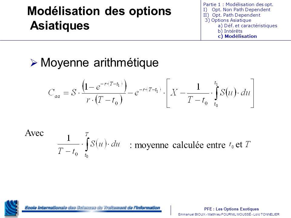 PFE : Les Options Exotiques m Emmanuel BIOUX - Matthieu FOURNIL MOUSSÉ - Loïc TONNELIER Partie 1 : Modélisation des opt. I) Opt. Non Path Dependent II