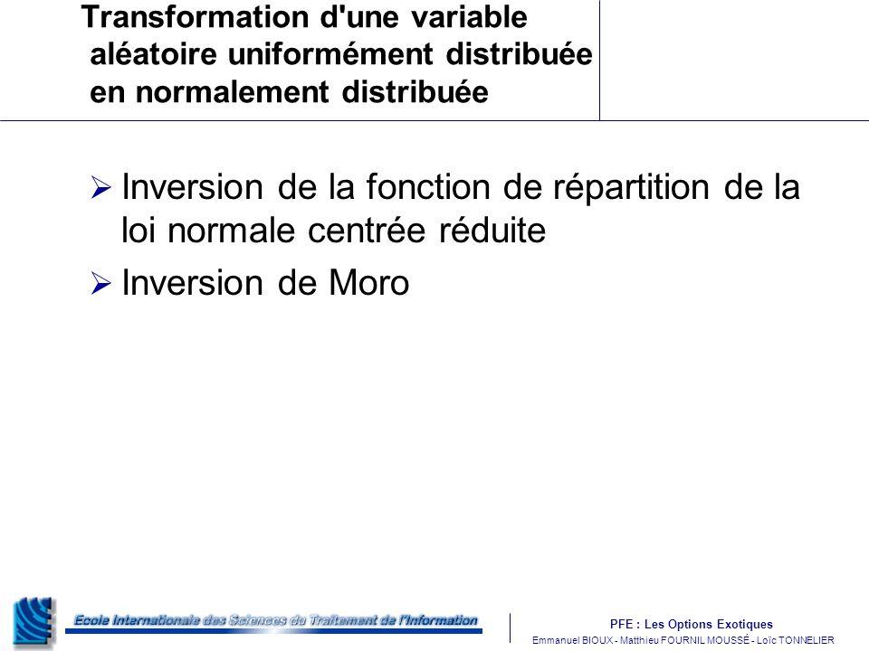 PFE : Les Options Exotiques m Emmanuel BIOUX - Matthieu FOURNIL MOUSSÉ - Loïc TONNELIER Transformation d une variable aléatoire uniformément distribuée en normalement distribuée Inversion de la fonction de répartition de la loi normale centrée réduite Inversion de Moro