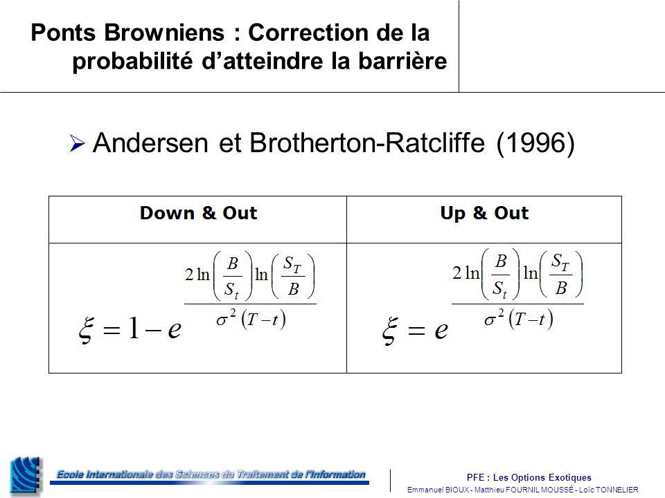 PFE : Les Options Exotiques m Emmanuel BIOUX - Matthieu FOURNIL MOUSSÉ - Loïc TONNELIER Ponts Browniens : Correction de la probabilité datteindre la barrière Andersen et Brotherton-Ratcliffe (1996)