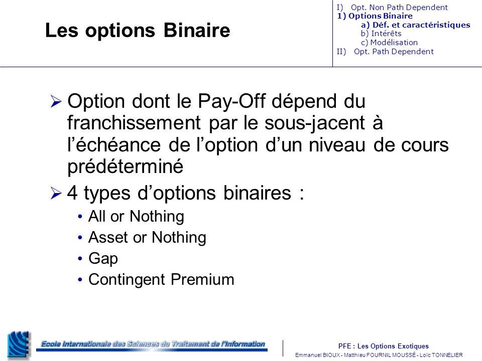 PFE : Les Options Exotiques m Emmanuel BIOUX - Matthieu FOURNIL MOUSSÉ - Loïc TONNELIER Les options Binaire Option dont le Pay-Off dépend du franchiss