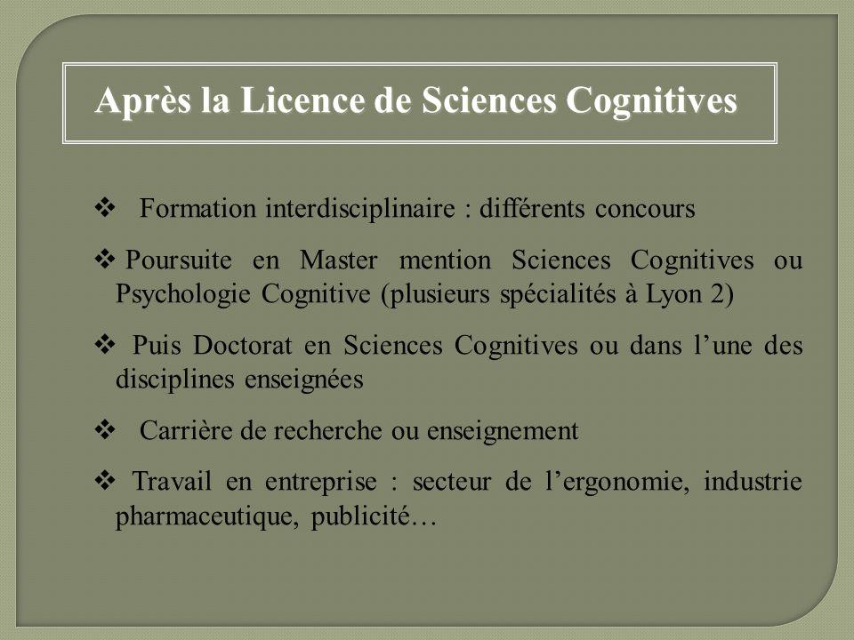 Après la Licence de Sciences Cognitives Formation interdisciplinaire : différents concours Poursuite en Master mention Sciences Cognitives ou Psycholo