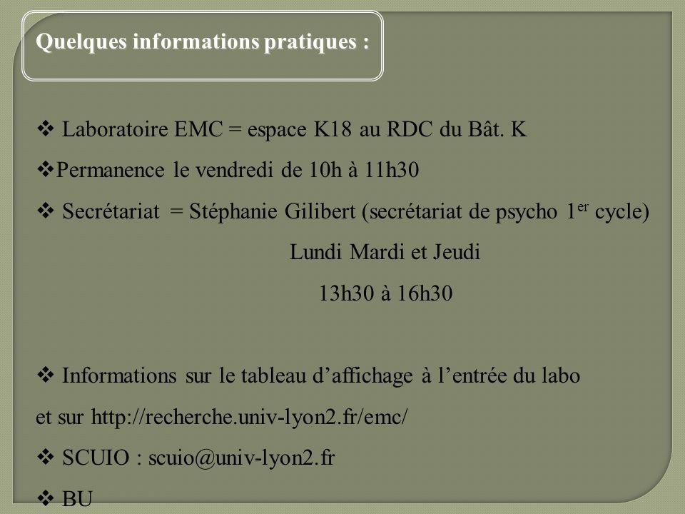 Quelques informations pratiques : Laboratoire EMC = espace K18 au RDC du Bât. K Permanence le vendredi de 10h à 11h30 Secrétariat = Stéphanie Gilibert