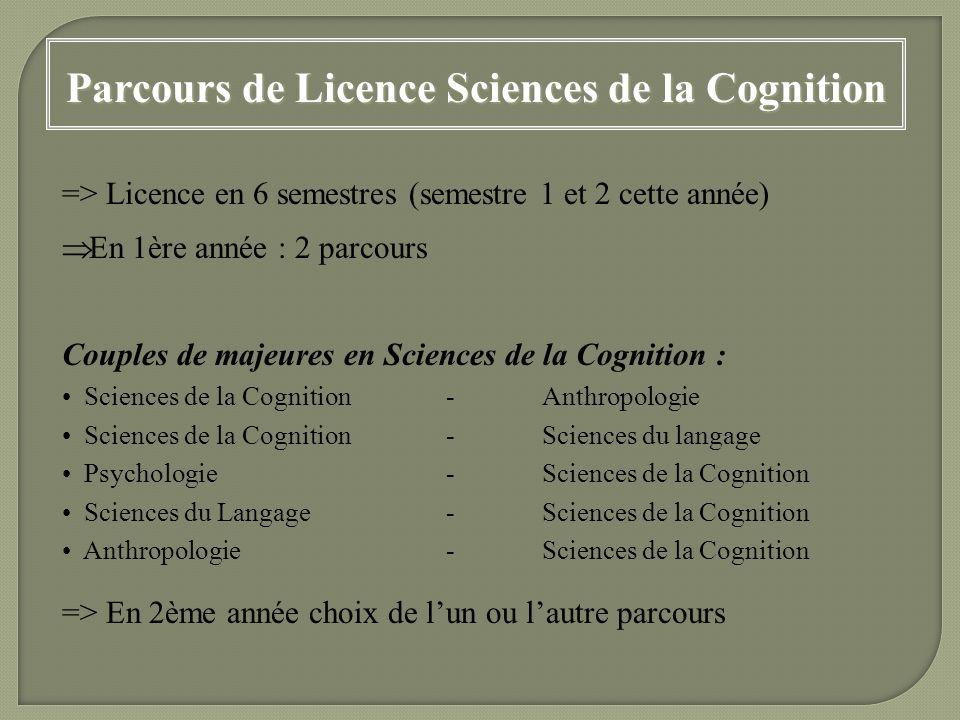 => Licence en 6 semestres (semestre 1 et 2 cette année) En 1ère année : 2 parcours Couples de majeures en Sciences de la Cognition : Sciences de la Co