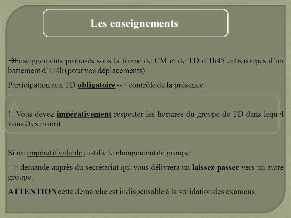 Enseignements proposés sous la forme de CM et de TD d1h45 entrecoupés dun battement d1/4h (pour vos déplacements) Participation aux TD obligatoire -->