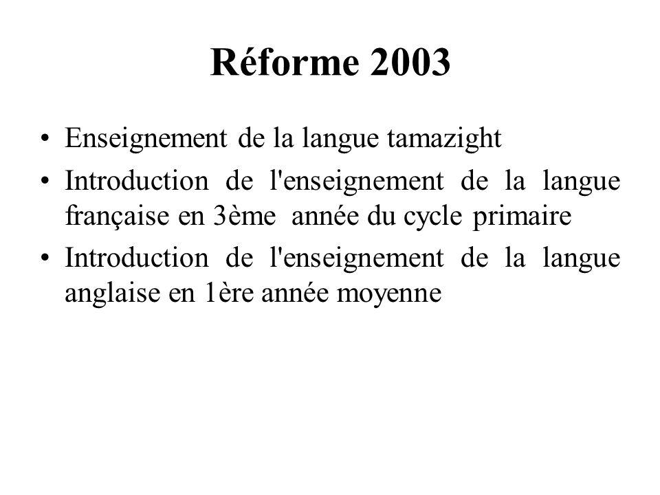 Réforme 2003 Enseignement de la langue tamazight Introduction de l enseignement de la langue française en 3ème année du cycle primaire Introduction de l enseignement de la langue anglaise en 1ère année moyenne