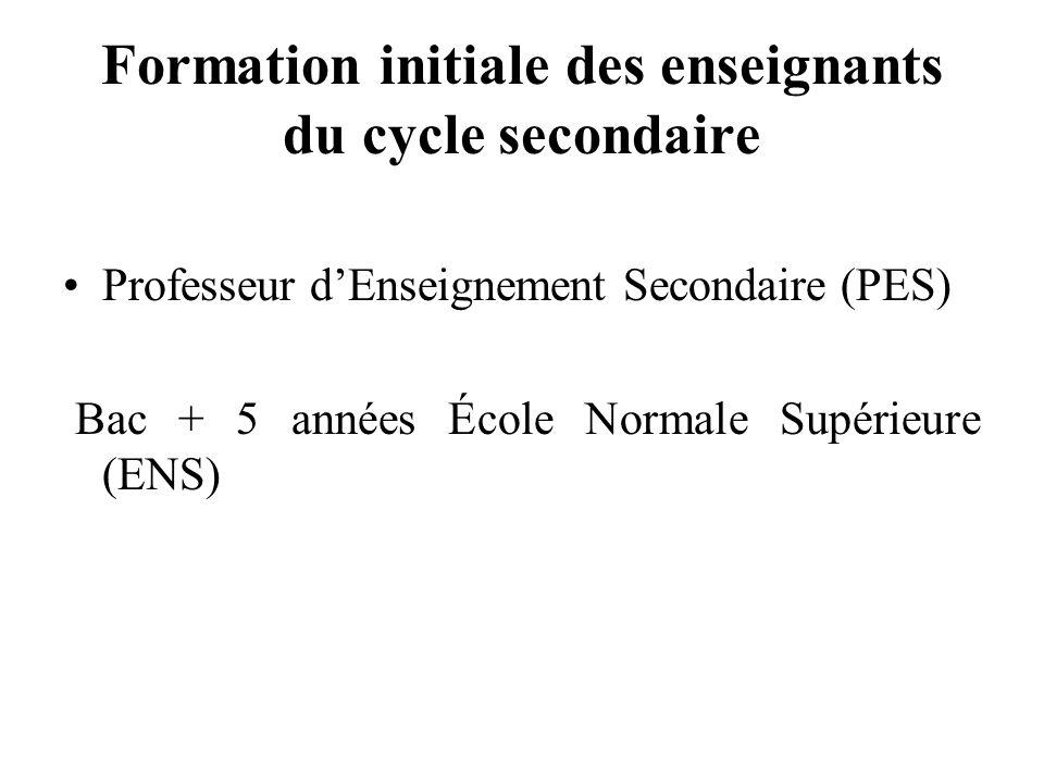 Formation initiale des enseignants du cycle secondaire Professeur dEnseignement Secondaire (PES) Bac + 5 années École Normale Supérieure (ENS)