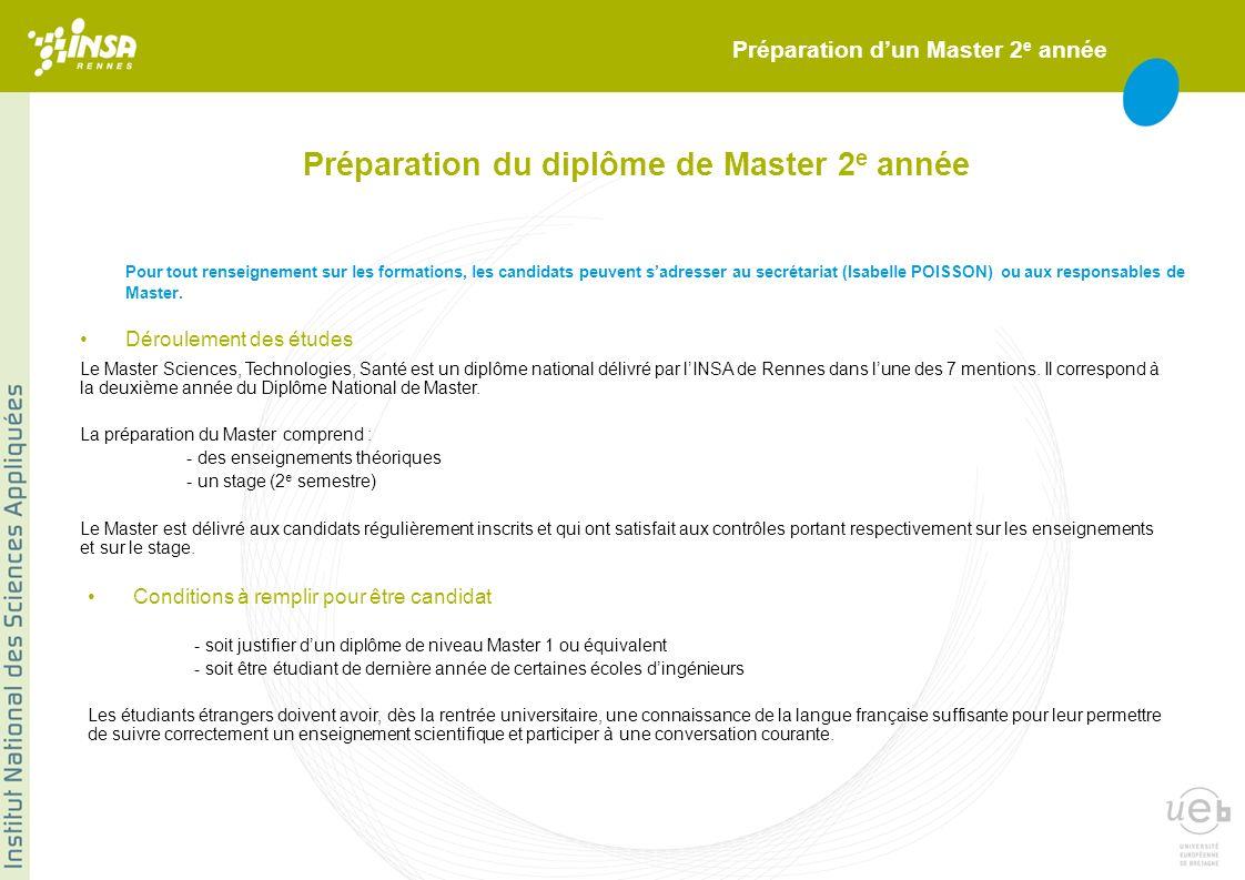 Préparation du diplôme de Master 2 e année Pour tout renseignement sur les formations, les candidats peuvent sadresser au secrétariat (Isabelle POISSO