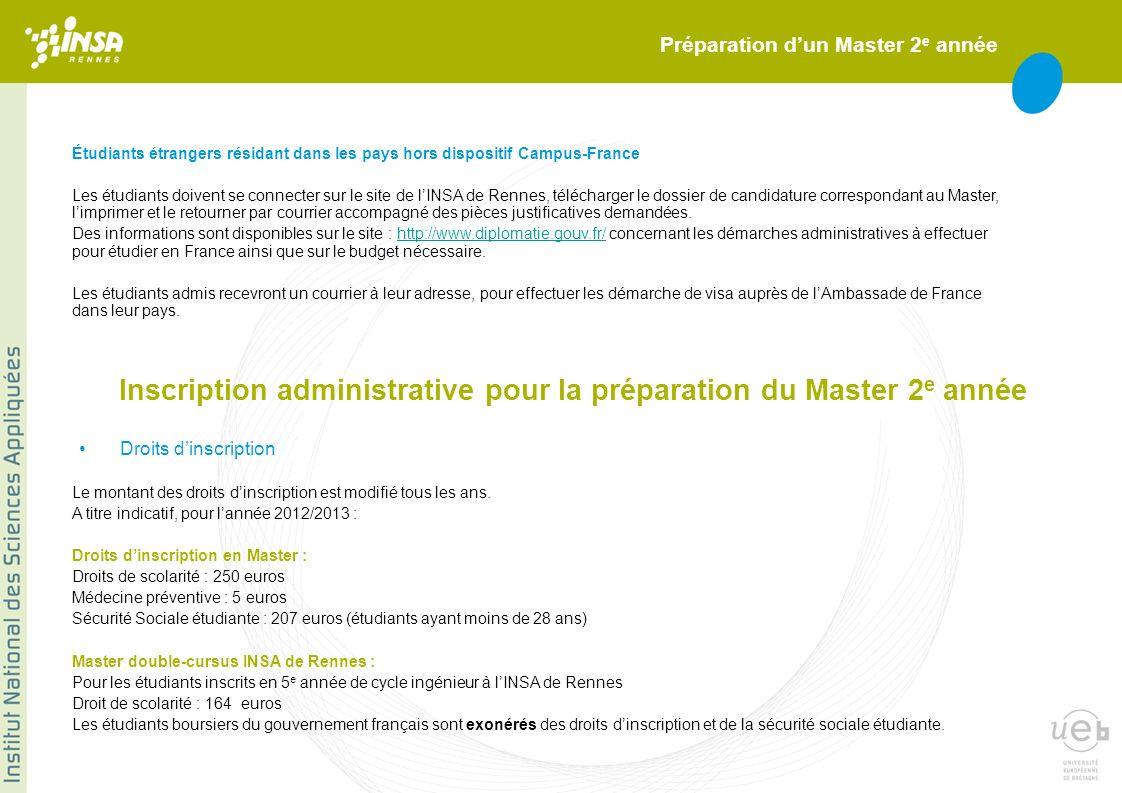 Préparation dun Master 2 e année Étudiants étrangers résidant dans les pays hors dispositif Campus-France Les étudiants doivent se connecter sur le si