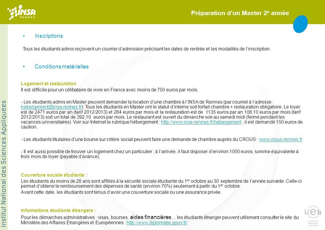 Préparation dun Master 2 e année Inscriptions Logement et restauration Il est difficile pour un célibataire de vivre en France avec moins de 750 euros