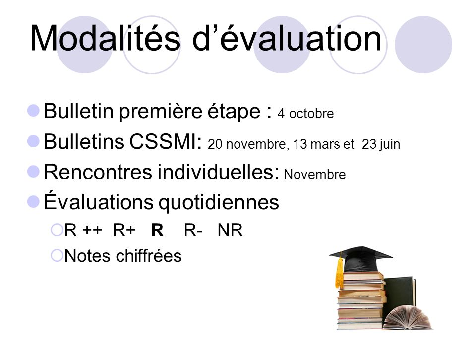 Modalités dévaluation Bulletin première étape : 4 octobre Bulletins CSSMI: 20 novembre, 13 mars et 23 juin Rencontres individuelles: Novembre Évaluati