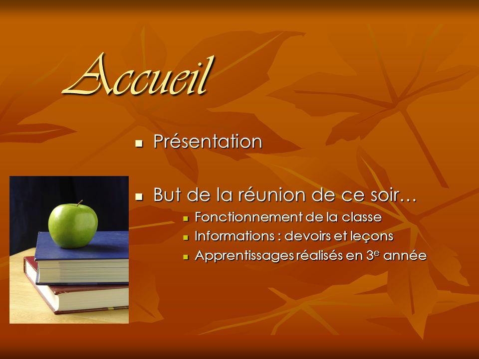 Gestion de classe Horaire de la semaine Voir lagenda…lagenda Contrôle de leçons : Vendredi Bibliothèque : Apporter les livres le jeudi.
