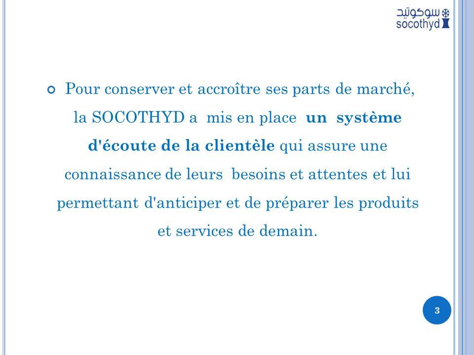 Pour conserver et accroître ses parts de marché, la SOCOTHYD a mis en place un système d'écoute de la clientèle qui assure une connaissance de leurs b