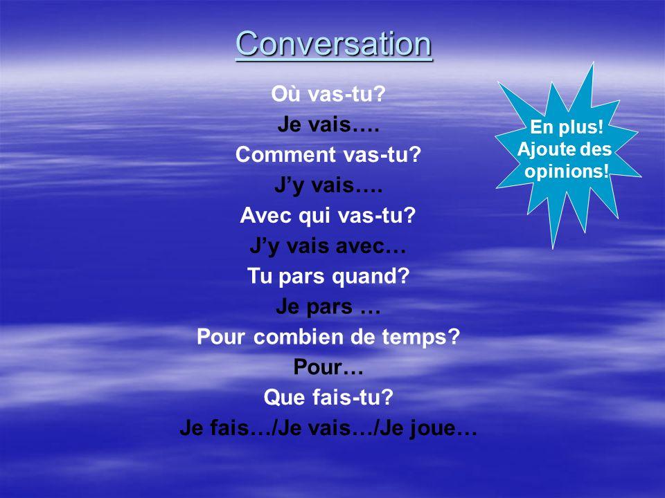Conversation Où vas-tu.Je vais…. Comment vas-tu. Jy vais….