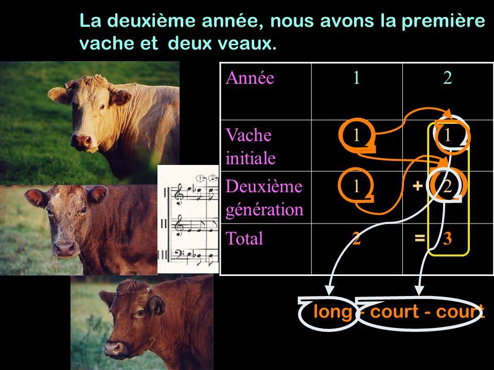 Année123 Vache initiale 111 Deuxième génération 123 Total234 La troisième année, nous avons la première vache et trois veaux.