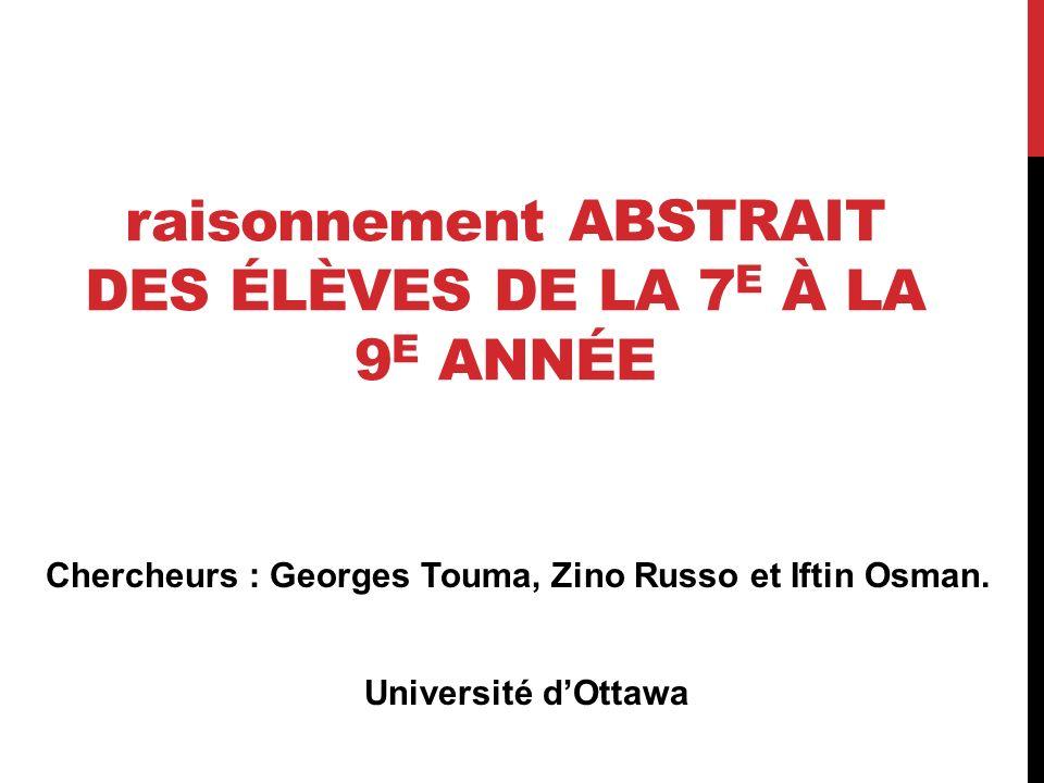 raisonnement ABSTRAIT DES ÉLÈVES DE LA 7 E À LA 9 E ANNÉE Chercheurs : Georges Touma, Zino Russo et Iftin Osman. Université dOttawa