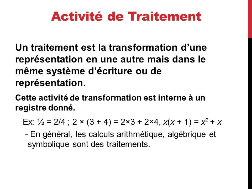 Activité de Traitement Un traitement est la transformation dune représentation en une autre mais dans le même système décriture ou de représentation.