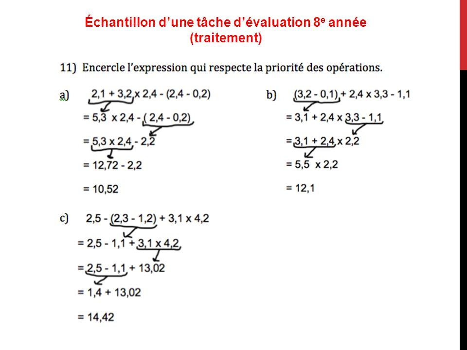 Échantillon dune tâche dévaluation 8 e année (traitement)
