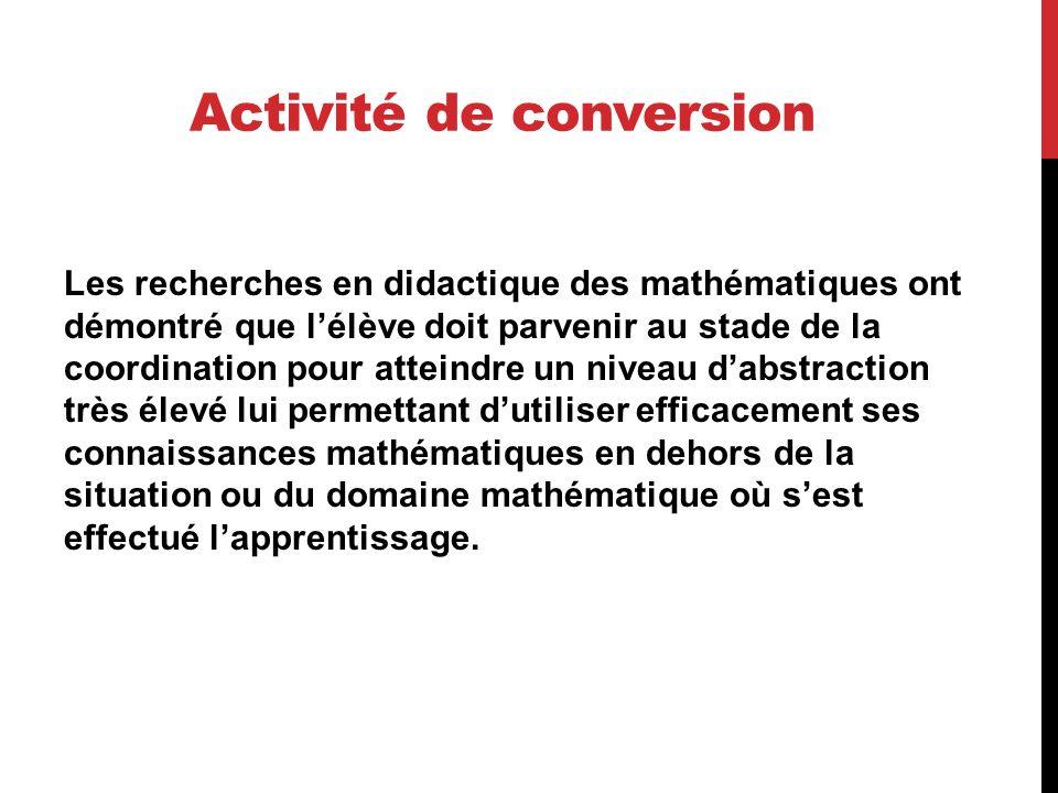 Activité de conversion Les recherches en didactique des mathématiques ont démontré que lélève doit parvenir au stade de la coordination pour atteindre