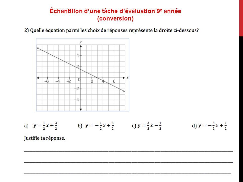 Échantillon dune tâche dévaluation 9 e année (conversion)