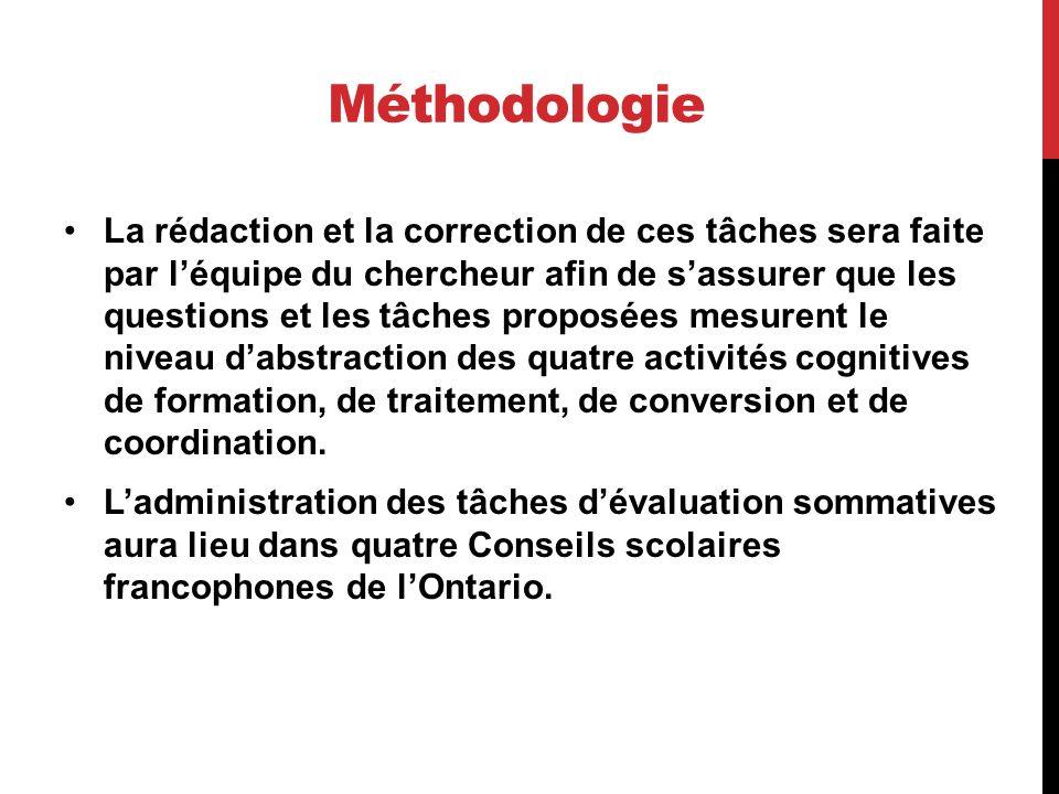 Méthodologie La rédaction et la correction de ces tâches sera faite par léquipe du chercheur afin de sassurer que les questions et les tâches proposée