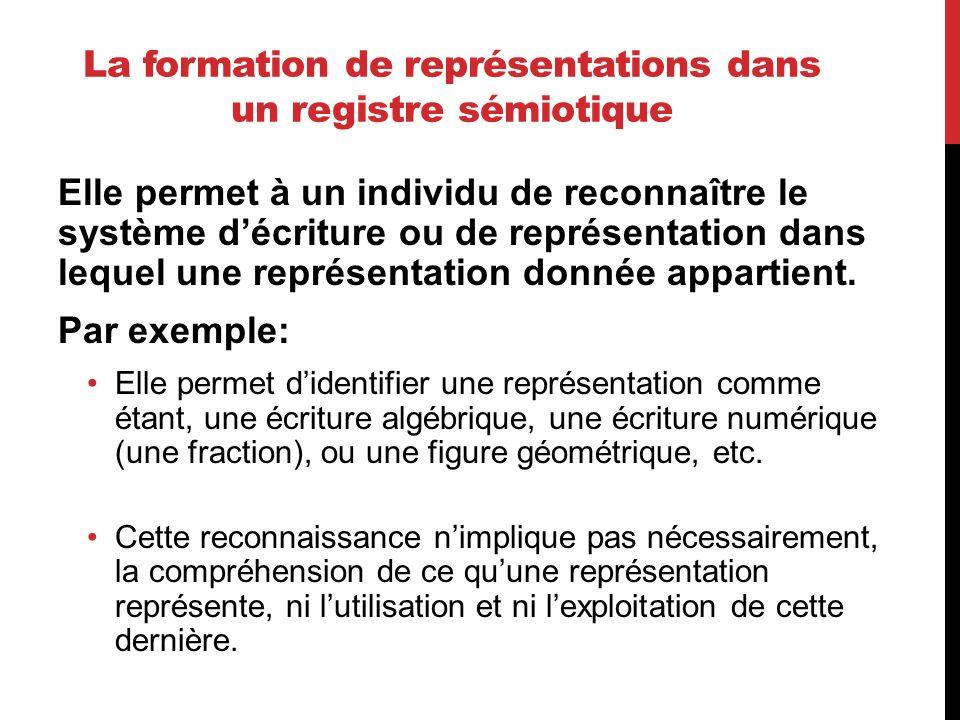 La formation de représentations dans un registre sémiotique Elle permet à un individu de reconnaître le système décriture ou de représentation dans le