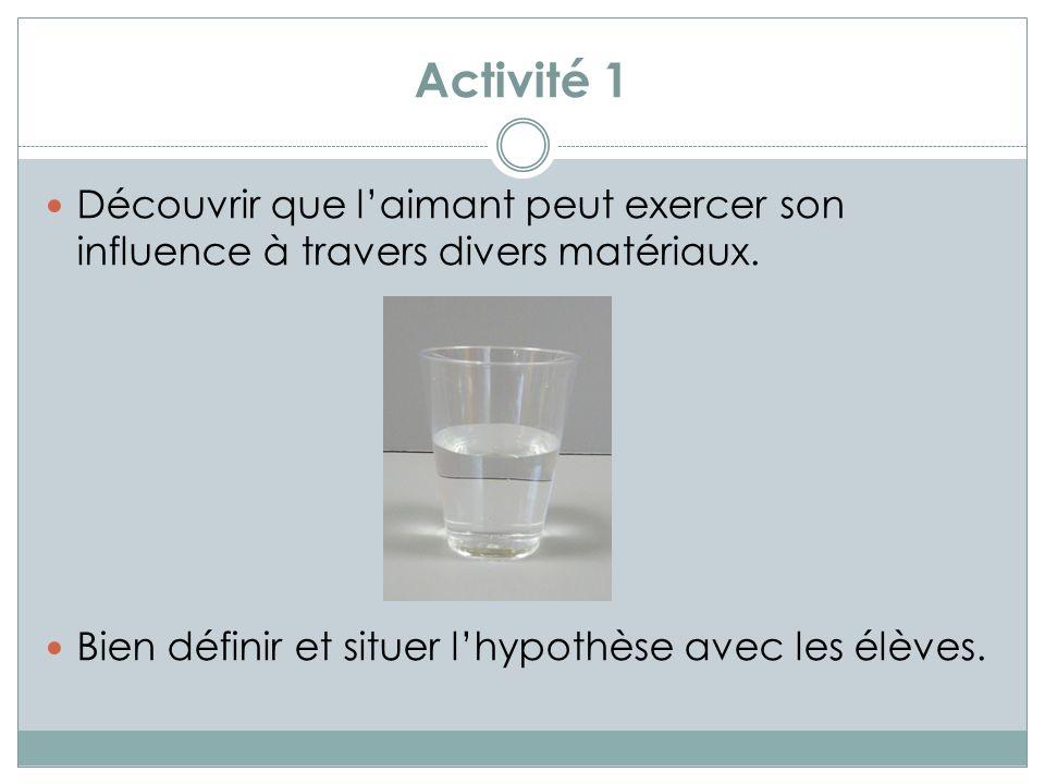 Activité 1 Découvrir que laimant peut exercer son influence à travers divers matériaux.