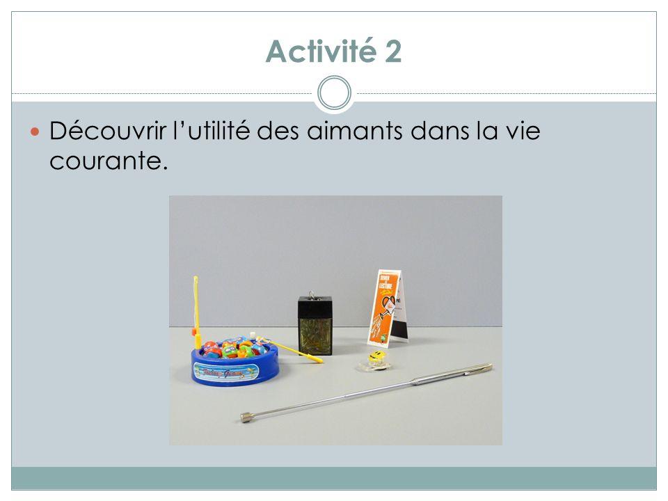 Activité 3 Découvrir, par expérimentation, que laimant attire les objets contenant du fer, du nickel ou du cobalt.