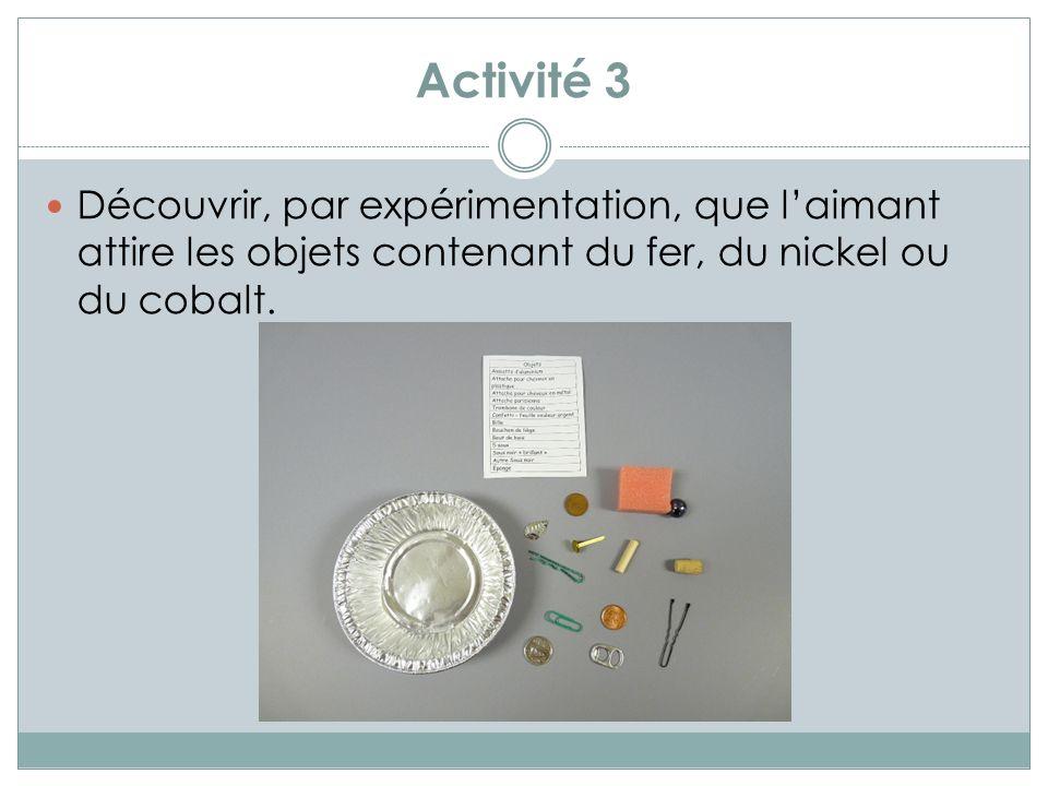 Activité 4 Découvrir linteraction entre deux aimants et visualiser ce quest un champ magnétique (au choix de lenseignante ou enseignant).