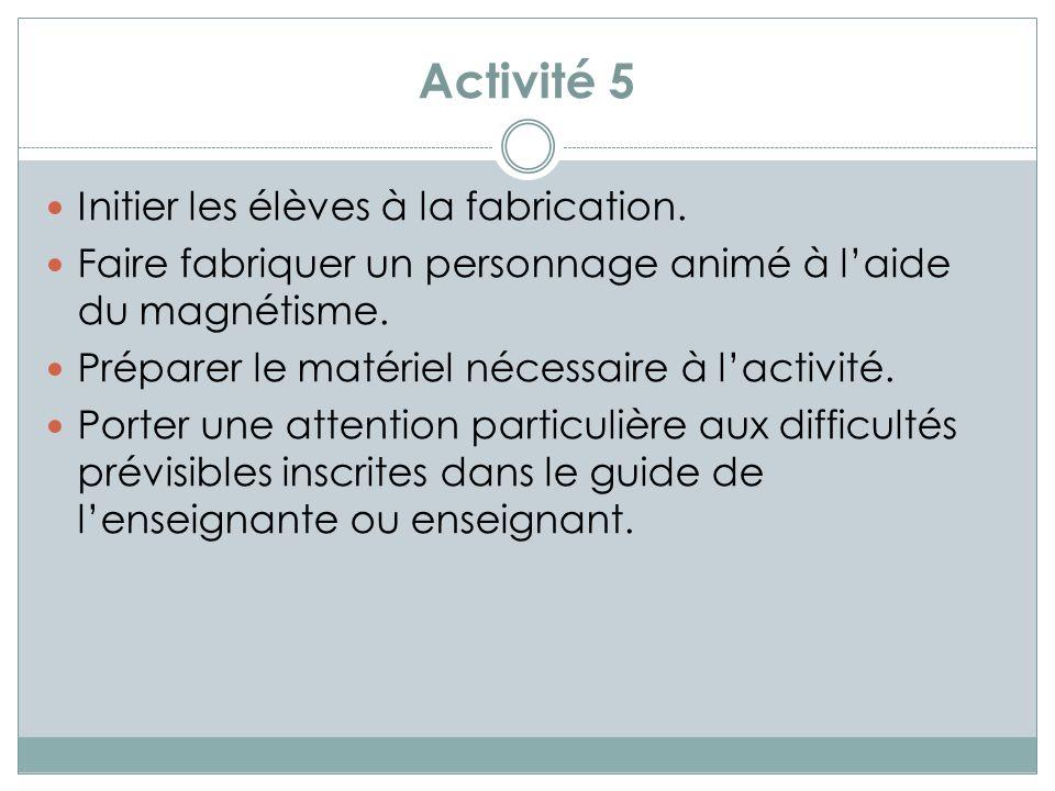 Activité 6 Découvrir que la puissance des aimants varie.