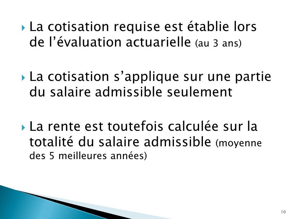 La cotisation requise est établie lors de lévaluation actuarielle (au 3 ans) La cotisation sapplique sur une partie du salaire admissible seulement La
