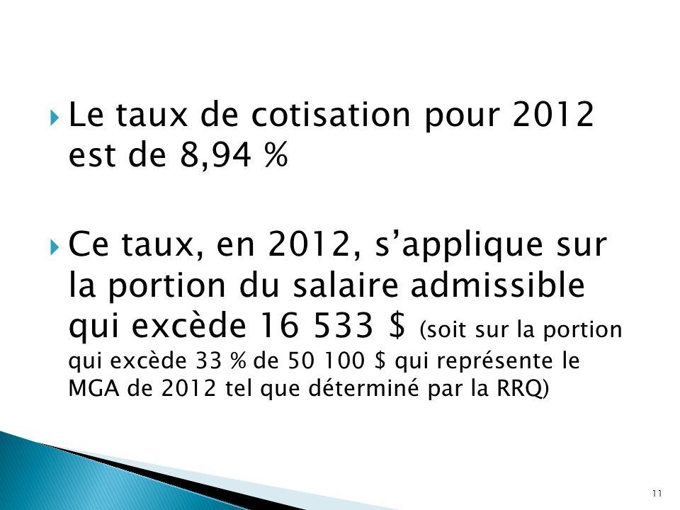 Le taux de cotisation pour 2012 est de 8,94 % Ce taux, en 2012, sapplique sur la portion du salaire admissible qui excède 16 533 $ (soit sur la portio