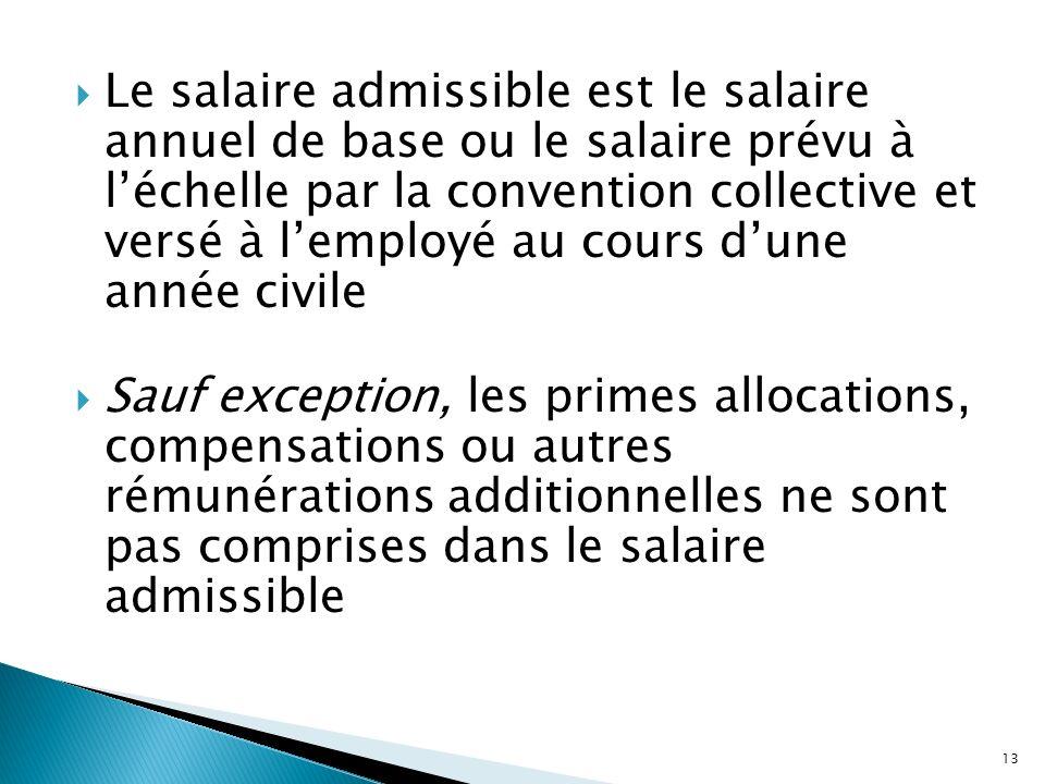 Le salaire admissible est le salaire annuel de base ou le salaire prévu à léchelle par la convention collective et versé à lemployé au cours dune anné