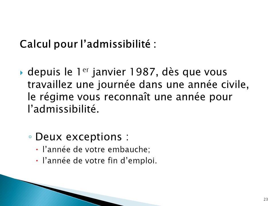 Calcul pour ladmissibilité : depuis le 1 er janvier 1987, dès que vous travaillez une journée dans une année civile, le régime vous reconnaît une anné