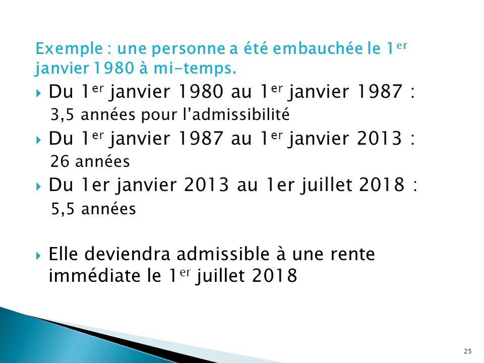 Exemple : une personne a été embauchée le 1 er janvier 1980 à mi-temps. Du 1 er janvier 1980 au 1 er janvier 1987 : 3,5 années pour ladmissibilité Du