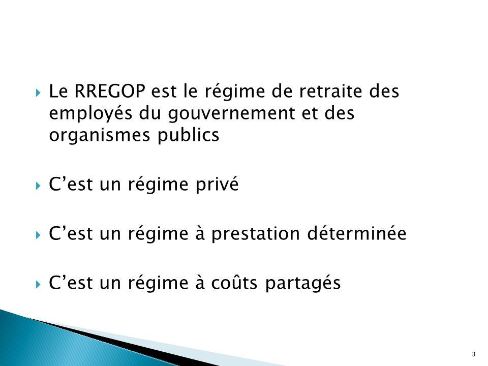 Le RREGOP est le régime de retraite des employés du gouvernement et des organismes publics Cest un régime privé Cest un régime à prestation déterminée