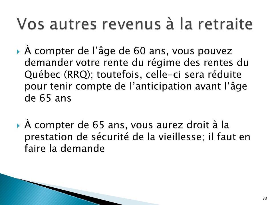 À compter de lâge de 60 ans, vous pouvez demander votre rente du régime des rentes du Québec (RRQ); toutefois, celle-ci sera réduite pour tenir compte