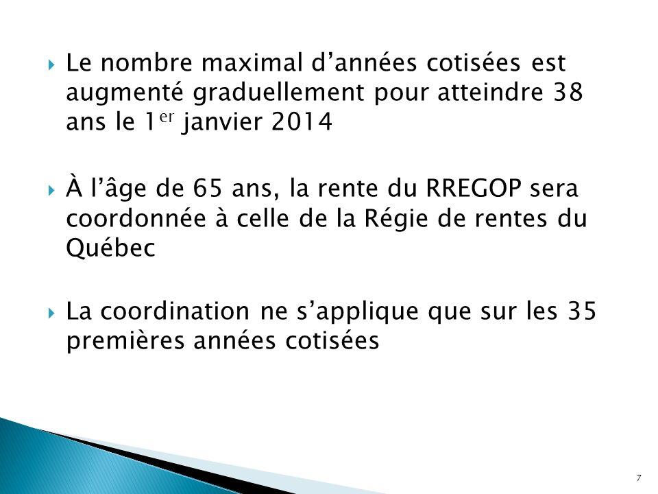 Le nombre maximal dannées cotisées est augmenté graduellement pour atteindre 38 ans le 1 er janvier 2014 À lâge de 65 ans, la rente du RREGOP sera coo