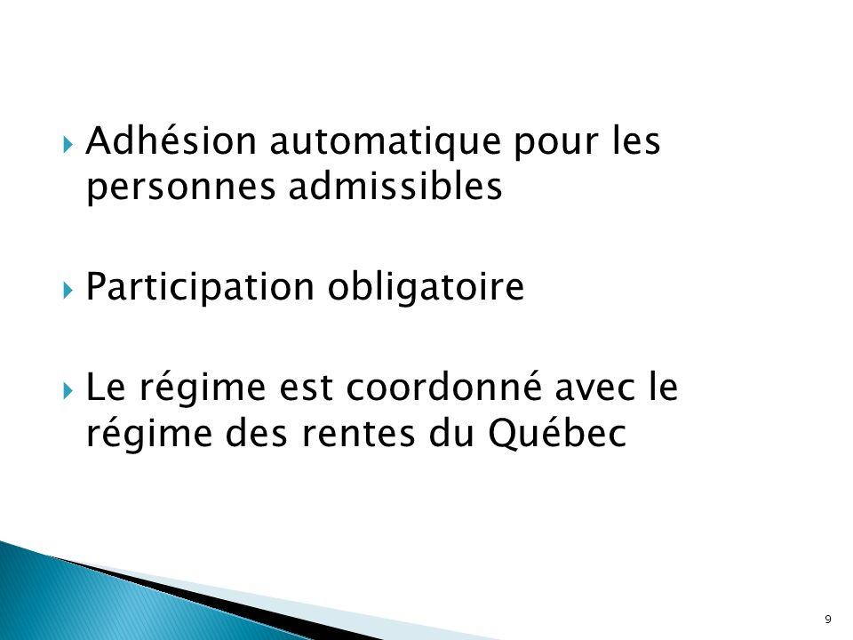 Adhésion automatique pour les personnes admissibles Participation obligatoire Le régime est coordonné avec le régime des rentes du Québec 9