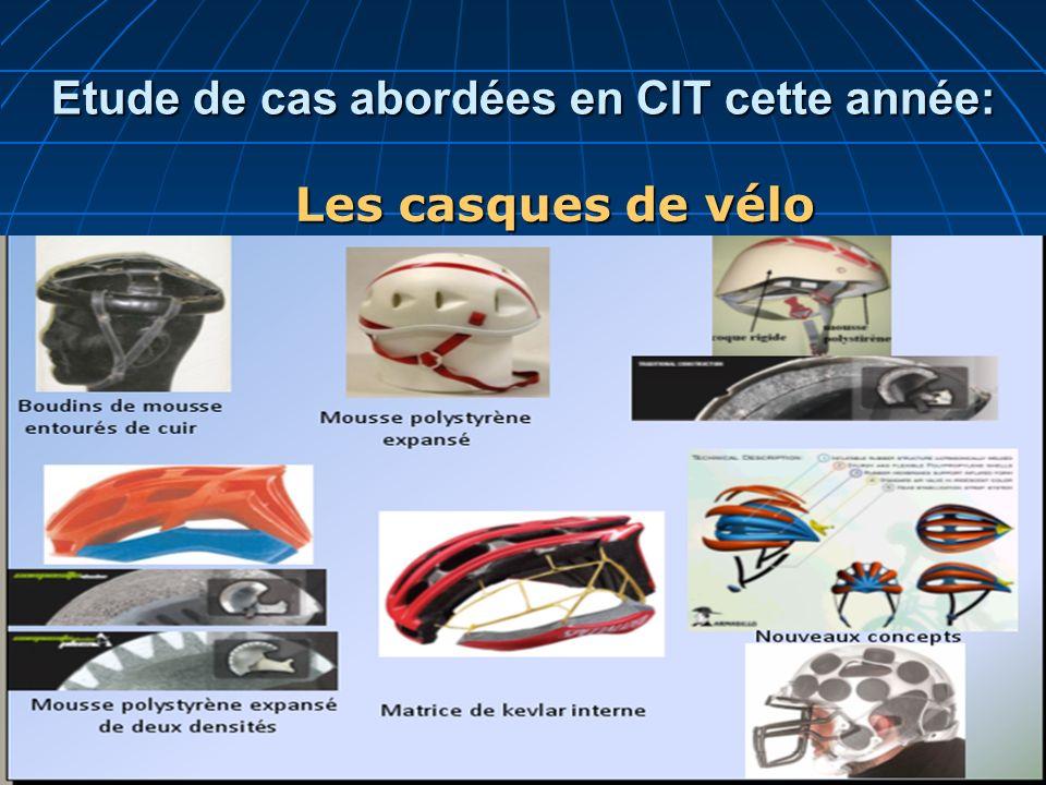 Etude de cas abordées en CIT cette année: Les casques de vélo