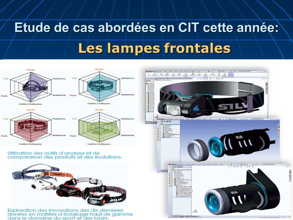 Les lampes frontales Etude de cas abordées en CIT cette année: