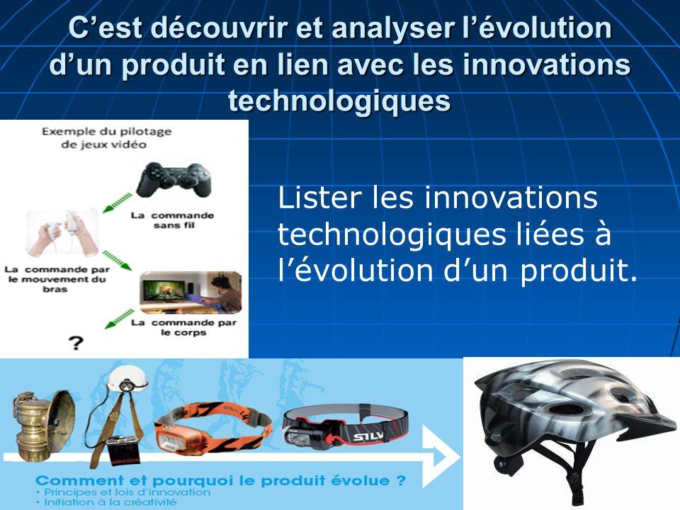 Cest découvrir et analyser lévolution dun produit en lien avec les innovations technologiques Lister les innovations technologiques liées à lévolution
