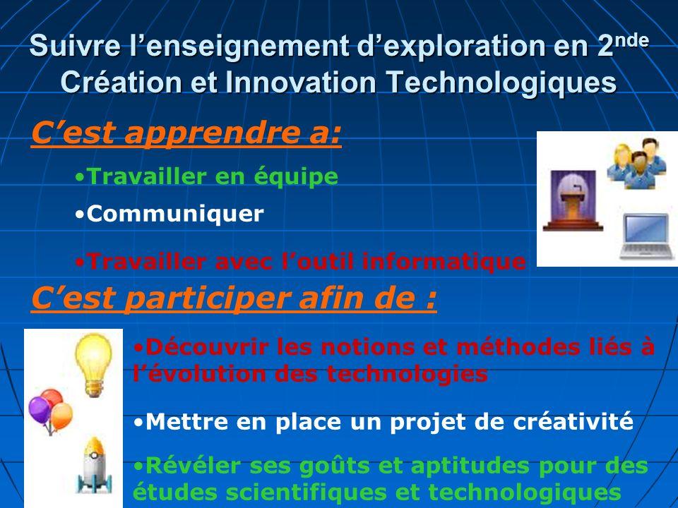 Suivre lenseignement dexploration en 2 nde Création et Innovation Technologiques Cest apprendre a: Travailler en équipe Communiquer Travailler avec lo
