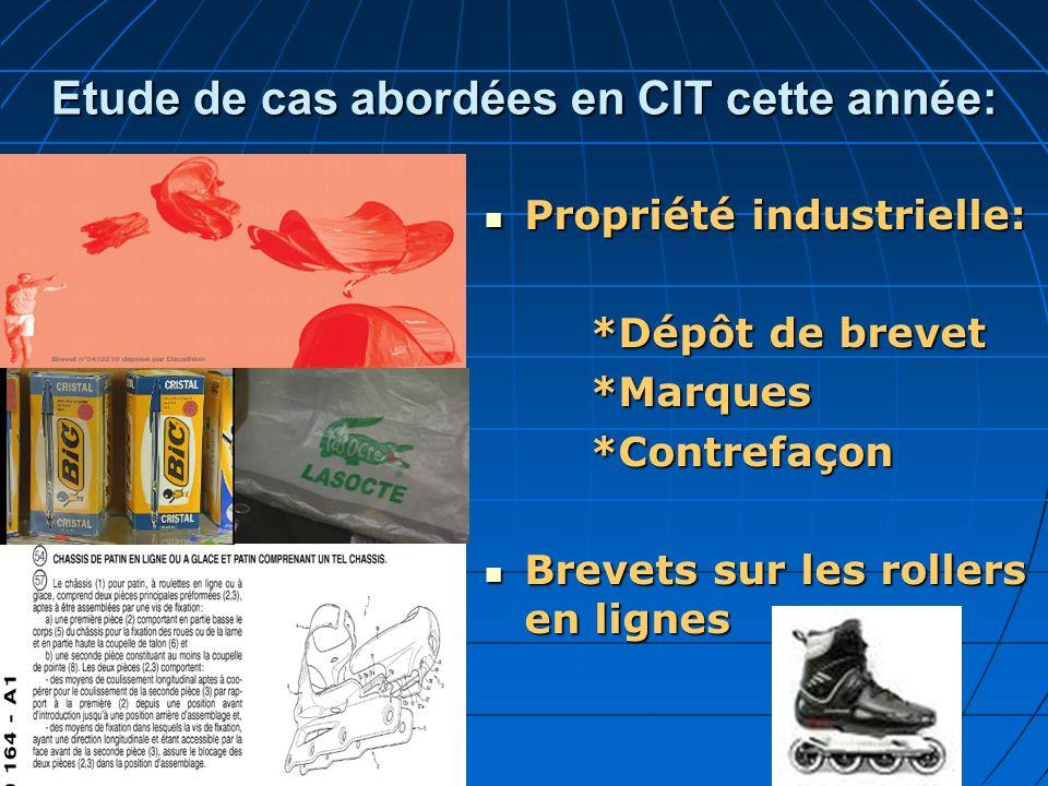 Etude de cas abordées en CIT cette année: Propriété industrielle: Propriété industrielle: *Dépôt de brevet *Marques*Contrefaçon Brevets sur les roller