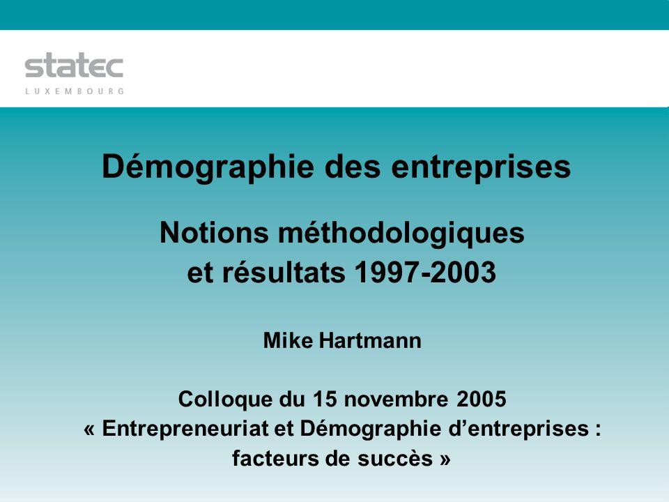 Démographie des entreprises Notions méthodologiques et résultats 1997-2003 Mike Hartmann Colloque du 15 novembre 2005 « Entrepreneuriat et Démographie dentreprises : facteurs de succès »